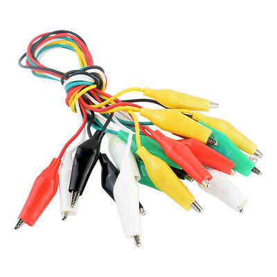 10x Assorted Double-end Test Leads Alligator Crocodile Clip Clamp Jumper Wire D