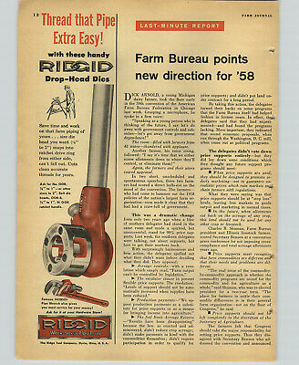 1958 PAPER AD Pipe Wrench Ridgid Bolt Die Heads Ratchet Drive Ring Ridge Tool