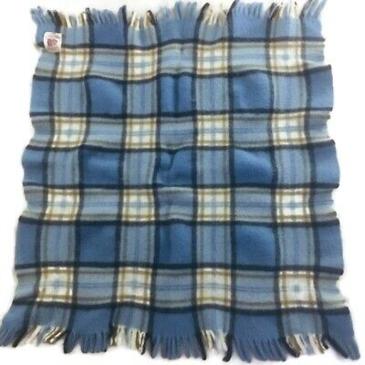 Vintage Curvon Wool Baby Blanket Throw Blue Brown Cream Plaid Fringe Flaws No. 8