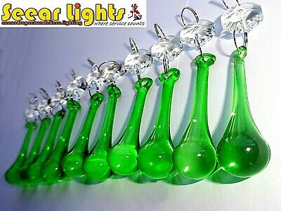 Green Chandelier Crystals 10 Orb Drops Prisms Wedding Droplets Beads Retro Bling