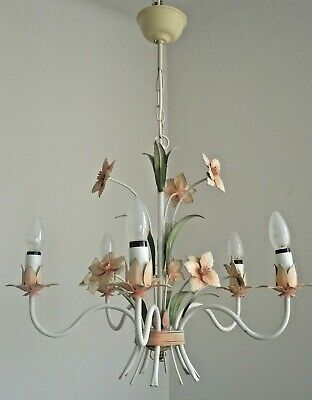 Shabby Chic Vintage French Tied Bouquet Peach & Green Tole-Ware Chandelier 1227
