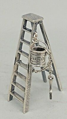 A solid silver miniature novelty step ladder for painter with Duco can & brush