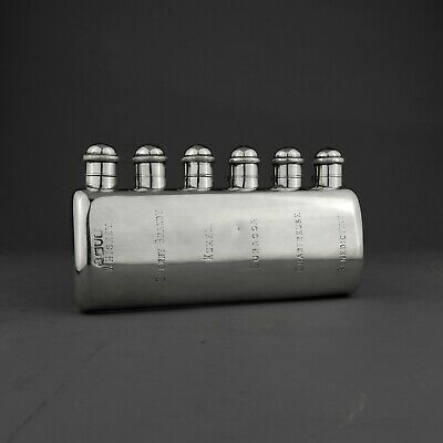 RARE Antique Solid Sterling Silver Hip / Liquor Flask. Shooting. London 1903.