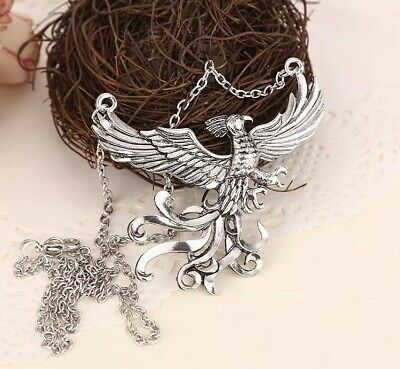 """Harry Potter Dumbledore's Phoenix Fawkes Necklace Silver 2.5"""" US Seller"""