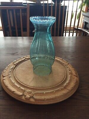 Antique Old/Vintage Blue Glass Oil Lamp Chimney Shade