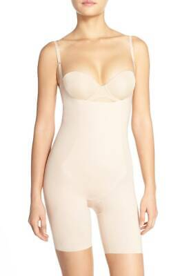 New SPANX Trust Your Thinstincts Open Bust Mid Thigh Full Bodysuit Nude XL