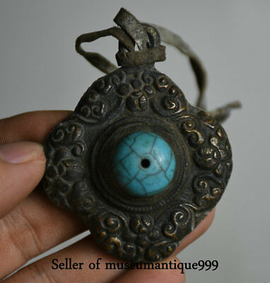 Old Tibet Tibetan Silver Turquoise Flower Buddhism Buddhist Pendant Amulet