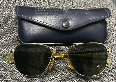 American Optical HGU-4/P Aviator Sunglasses 5 1/2 AO with Case MIL-S-25948 gold