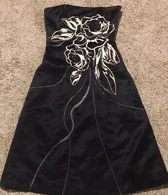 WHBM Floral Beaded Satin Embroidered Strapless Black Dress Size 0 XS XXS Formal