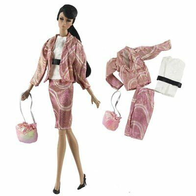 Fashion Doll Clothes Set For 11.5in. 1/6 Doll Top Denim Jeans Handbag Outfits