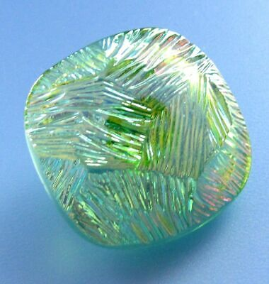 LARGE Vintage Czech Green Iridescent Glass Square Button Aurora Borealis
