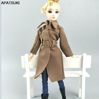 "Khaki Office Lady Fashion Coat For 11.5"" Doll Clothes & Shoes Trench Coat Outfit"