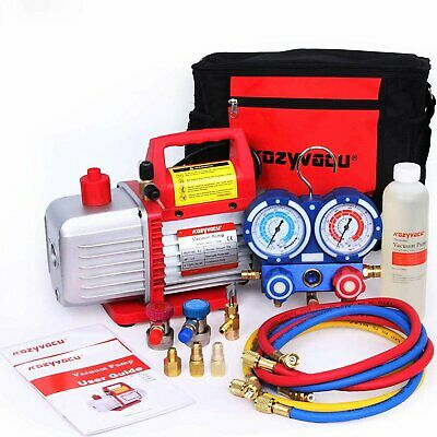 Kozyvacu AUTO AC Repair Complete Tool Kit with 1-Stage 4.5 CFM Vacuum Pump,...