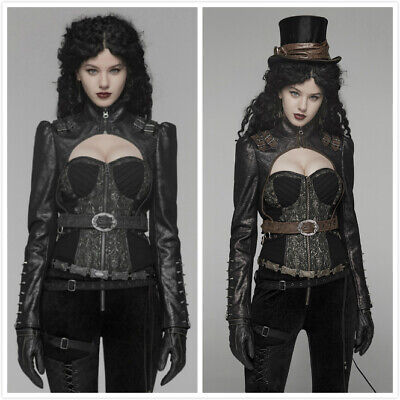 Punk Rave Fashion Black Gothic Steampunk Corset Top Rivet Short Jacket For Women