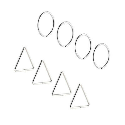 10pcs Stainless Steel Thin Lip Ring Nose Ring Ear Piercing Ring Surgical Hoop