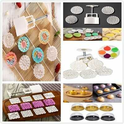 50g/75g/100g/125g Round Moon Cake Mold Mooncake Mould Flower Stamps Baking Tool