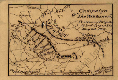 Campaign of The Wilderness Virginia c1864 map 14x10