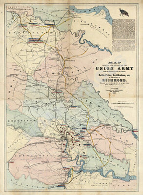 Map of Union Army postion in Richmond Virginia c1864 20x27