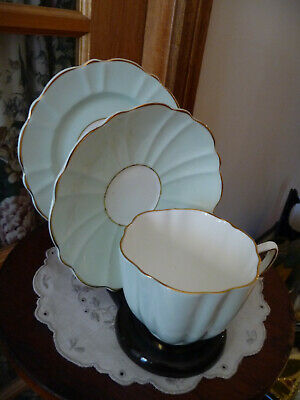 Vintage Art Deco OLD ROYAL Fluted Pastel Green Bone China Trio : Perfect C1930's