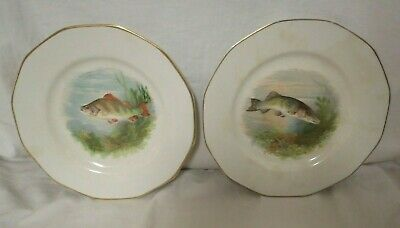 "Empire Works Stoke On Trent England 9"" Hand Painted Fish Plates Circa 1928"