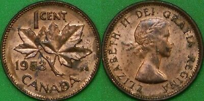 1953 Canada No Shoulder Fold Penny Graded as Brilliant Uncirculated Toned Coin