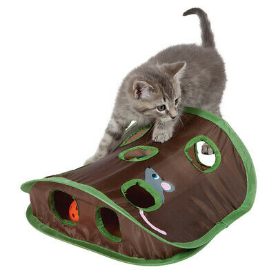 Funny Pet Cat Toy Multi-hole Tent Tunnel Mouse Hunt Cat Kitten Toy W/ Bell Ball
