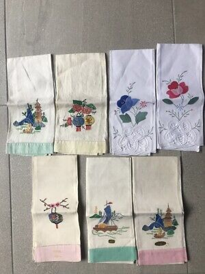 Vintage Guest Hand Towels Linens ASIAN Embroidery Applique Lot of 7 AS IS