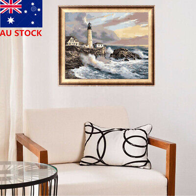 AU Framed Canvas Paint By Number Kit Painting Lighthouse Sea Shore Rocks Tides