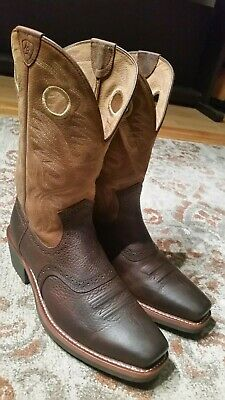 2a220390c37 ARIAT ROUGHSTOCK BROWN Leather Square Toe Cowboy Boots 10002227 Mens Size  11.5Ee