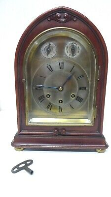 Antique Gustav Becker German Bracket Chiming Mantle Clock Mahogany Brass