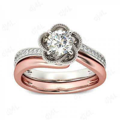 1.50 ct Round Diamond Flower Engagement Ring Band Set Solid 14k Two Tone Gold