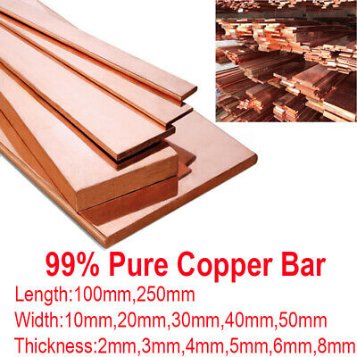 99% Copper Strip Flat Bar T2 Pure Cu Metal Copper Sheet Plate 100 250mm 10-50mm