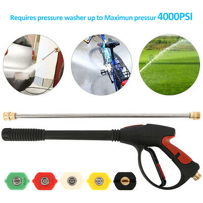 Power High Pressure Water Car Washer Spray Gun 4000 PSI Lance Hose Nozzle Tip CA