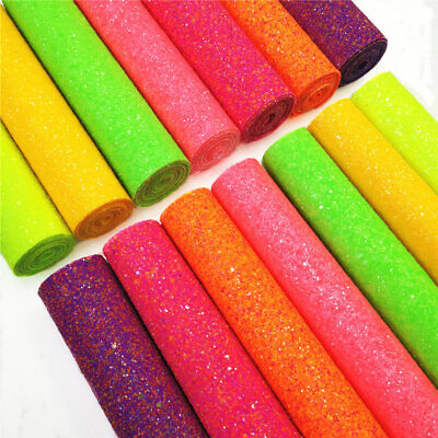 Sparkly Frosted Neon Fluorescent Chunky Glitter Fabric Crystal Sheet Bows Craft