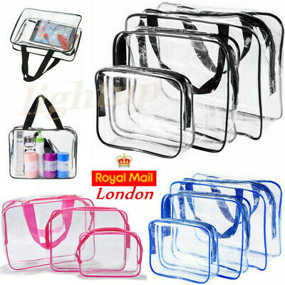3PCS Clear Travel Cosmetic Toiletry Bag Organiser Makeup Case Transparent Set UK