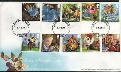 GB 2015 FDC Alice In Wonderland Oxford local postmark stamps