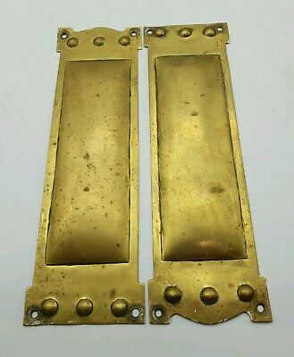 Antique Victorian Art Nouveau Brass Door Finger Plates c1870 - Beautiful Design