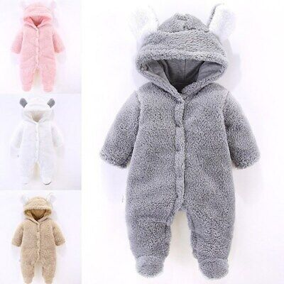 Baby clothes baby boys girls flannel hoodie cotton lined bodysuit warm jumpsuit