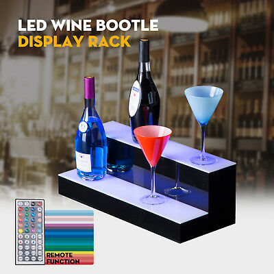 "20"" 2 Step Tier LED Lighted Back Bar Glowing Liquor Bottle Display Shelf Stand"