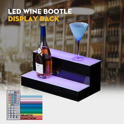 "16"" 2 Step Tier LED Lighted Back Bar Glowing Liquor Bottle Display Shelf Stand"