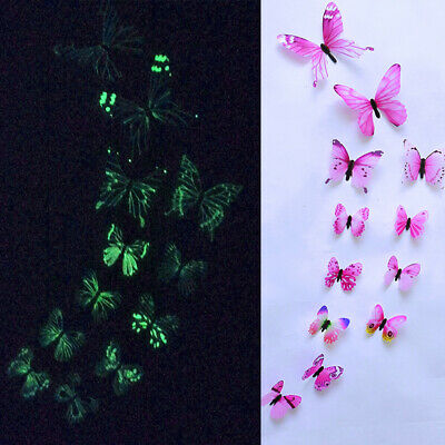 3D PVC Magnetic Luminous Butterfly Wall Sticker Home Mirror Decor 12Pcs Colorful