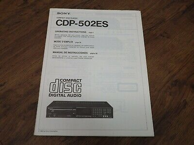 Sony Cdp-502Es Cd Player Original Operating Instructions