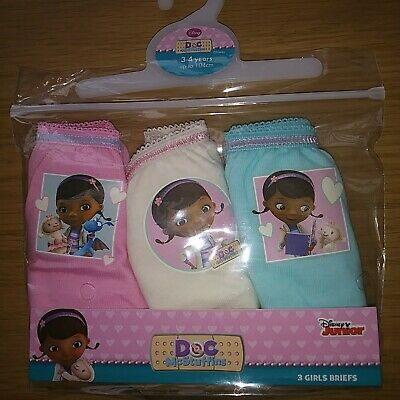 Girls Disney Doc Mcstuffing 3 Pack Briefs 3-4  Years 100% cotton FREE POSTAGE.