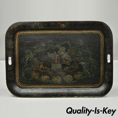 Antique 19th C French Victorian Hand Painted Flowers Tole Metal Toleware Tray