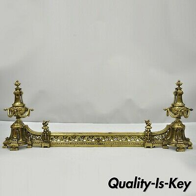Antique French Louis XVI Brass Bronze Flame Finial Andirons w/ Adjustable Fender