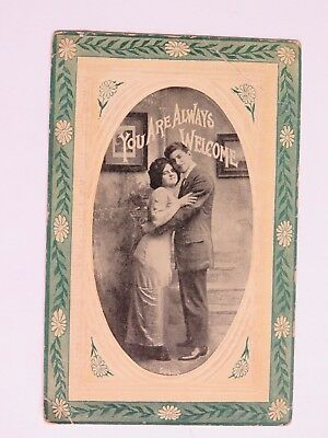 1913 Antique Postcard Romance Man Woman Hugging Embossed Used Old Vintage #2123