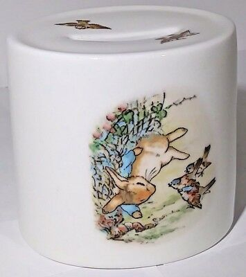 Wedgwood Peter Rabbit Oval Coin Bank Beatrix Potter Design Friendly Sparrows