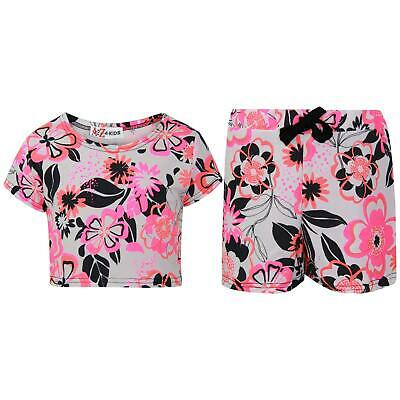 Kids Girls Crop Top & Shorts Neon Pink Floral Fashion Summer Outfit Short Sets