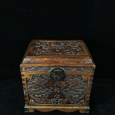 "13"" Chinese old antique huanghuali wood handcarved dragon box statue"