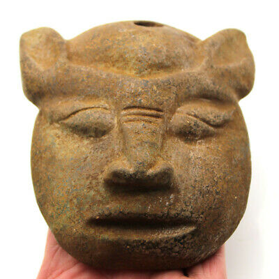 """Ancient Chinese Hongshan Culture Old Jade Sun God Mask Amulet Statue 5.2"""""""